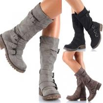 Retro Style Flat Heel Round Toe Side-zipper Martin Boots