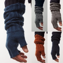 Fashion Solid Color Half-finger Knit Gloves