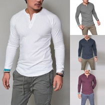 Fashion Solid Color Long Sleeve Round Neck Men's T-shirt