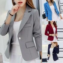 OL Style Long Sleeve Slim Fit Solid Color Blazer