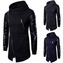 Fashion PU Leather Spliced Long Sleeve Oblique Zipper Men's Sweatshirt Coat