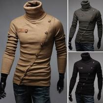 Fashion Solid Color Long Sleeve Turtleneck Oblique-button Men's T-shirt