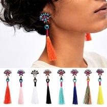 Ethnic Style Rhinestone Inlaid Tassel Pendant Earrings