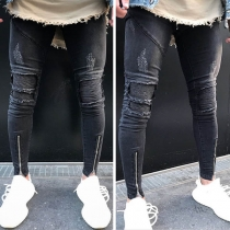 Fashion Solid Color Ripped Zipper Hem Men's Jeans