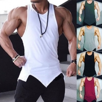 Fashion Solid Color Irregular Hem Men's Tank Top