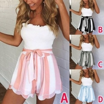 Sweet Contrast Color Lace-up Striped Spliced Slim Fit Shorts
