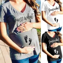 Fashion Letters Printed Short Sleeve V-neck T-shirt for Pregnant Woman