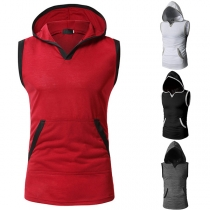 Fashion Contrast Color Sleeveless Hooded Men's T-shirt