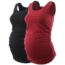 Fashion Solid Color Sleeveless Round Neck Maternity Tank Top