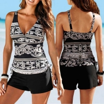 Sexy Backless V-neck Printed Swimsuit Set