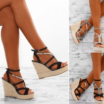 Fashion Contrast Color Peep Toe Self-tie High Wedge Heel Sandals