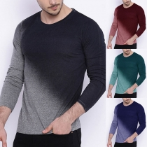Fashion Color Gradient Long Sleeve Round Neck Men's T-shirt