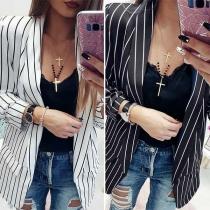 OL Style Long Sleeve Slim Fit Striped Blazer