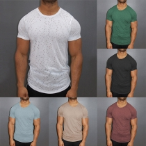 Fashion Solid Color Short Sleeve Round Neck Ripped Men's T-shirt