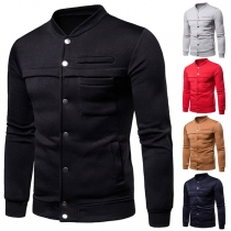 Fashion Solid Color Long Sleeve Stand Collar Men's Baseball Coat
