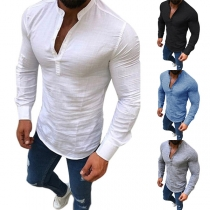Fashion Solid Color Long Sleeve Stand Collar Men's Top