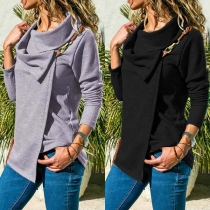 Fashion Solid Color Long Sleeve Oblique Collar Coat