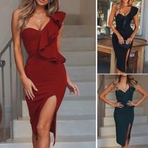 Sexy One-shoulder Slit Hem Slim Fit Party Dress
