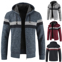Fashion Contrast Color Long Sleeve Hooded Men's Knit Coat