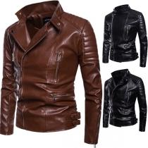 Fashion Solid Color Long Sleeve Side-zipper Men's PU Leather Jacket