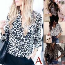 Fashion Notched Lapel Long Sleeve Leopard Print Blouse