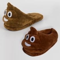 Cute Emoji Expression Pattern Defecate Shaped Home Wear Slippers