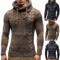 Fashion Mixed Color Long Sleeve Hooded Men's Sweater
