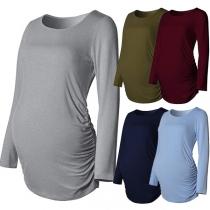 Fashion Long Sleeve Round Neck Maternity T-shirt