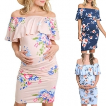 Sexy Ruffle Boat Neck Slim Fit Printed Maternity Dress