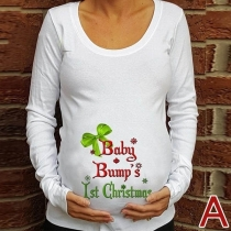 Fashion Letters Printed Long Sleeve Round Neck Maternity Shirt