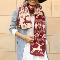 Cute Elk Printed Knit Scarf