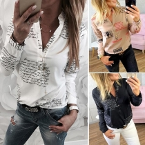Fashion Long Sleeve V-neck Letters Printed Blouse