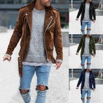Fashion Solid Color Long Sleeve Oblique Zipper Men's Jacket