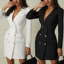 OL Style Long Sleeve Double-breasted Notched Lapel Slim Fit Dress