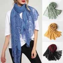 Fashion Solid Color Lace Spliced Scarf
