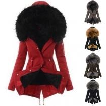 Fashion Long Sleeve Plush Lining Faux Fur Spliced Hooded Coat