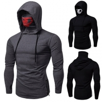 Fashion Skull Printed Spliced Mask Long Sleeve Men's Hooded Shirt