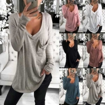Fashion Solid Color Long Sleeve V-neck Loose Shirt