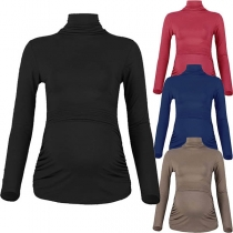 Fashion Solid Color Long Sleeve Mock Neck Maternity T-shirt