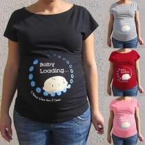 Cute Cartoon Printe Short Sleeve Round Neck Maternity T-shirt