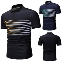 Fashion Striped Spliced Short Sleeve POLO Collar Men's T-shirt
