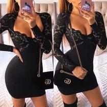 Sexy Deep V-neck Lace Spliced Long Sleeve Tight Dress