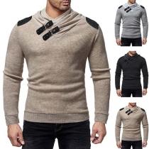Fashion Contrast Color Long Sleeve Cowl Neck Men's Knit Top