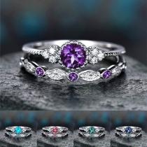 Fashion Rhinestone Inlaid Ring Set 2pcs/Set