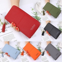 Fashion Tassel Pendant Solid Color Long-style Wallet