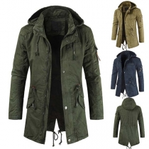 Fashion Solid Color Drawstring Waist Hooded Men's Coat