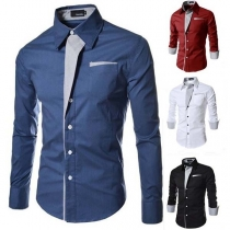 Fashion Contrast Color Long Sleeve Slim Fit Men's Shirt