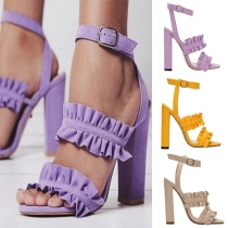Fashion Thick High-heeled Open Toe Ruffle Sandals