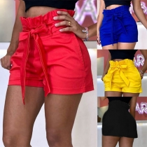 Fashion Solid Color Ruffle High Waist Shorts