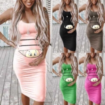 Cute Cartoon Printed Sleeveless Slim Fit Maternity Dress